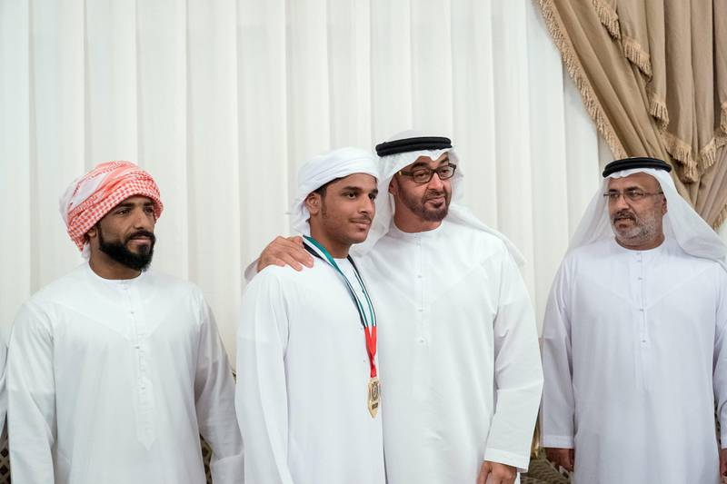 ABU DHABI, UNITED ARAB EMIRATES -November 04, 2017: HH Sheikh Mohamed bin Zayed Al Nahyan Crown Prince of Abu Dhabi Deputy Supreme Commander of the UAE Armed Forces (2nd R), offers condolences to the family of martyr Abdullah Ahmed Al Hosani, who passed away while serving the UAE Armed Forces in Yemen.  ( Rashed Al Mansoori / Crown Prince Court - Abu Dhabi ) ---