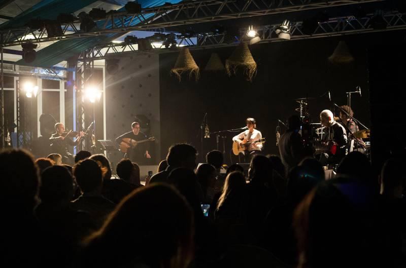Abu Dhabi, United Arab Emirates- Souad Massi performing at the Hay Festival Etihad Garden Stage, Manarat Saadiyat.  Leslie Pableo for The National