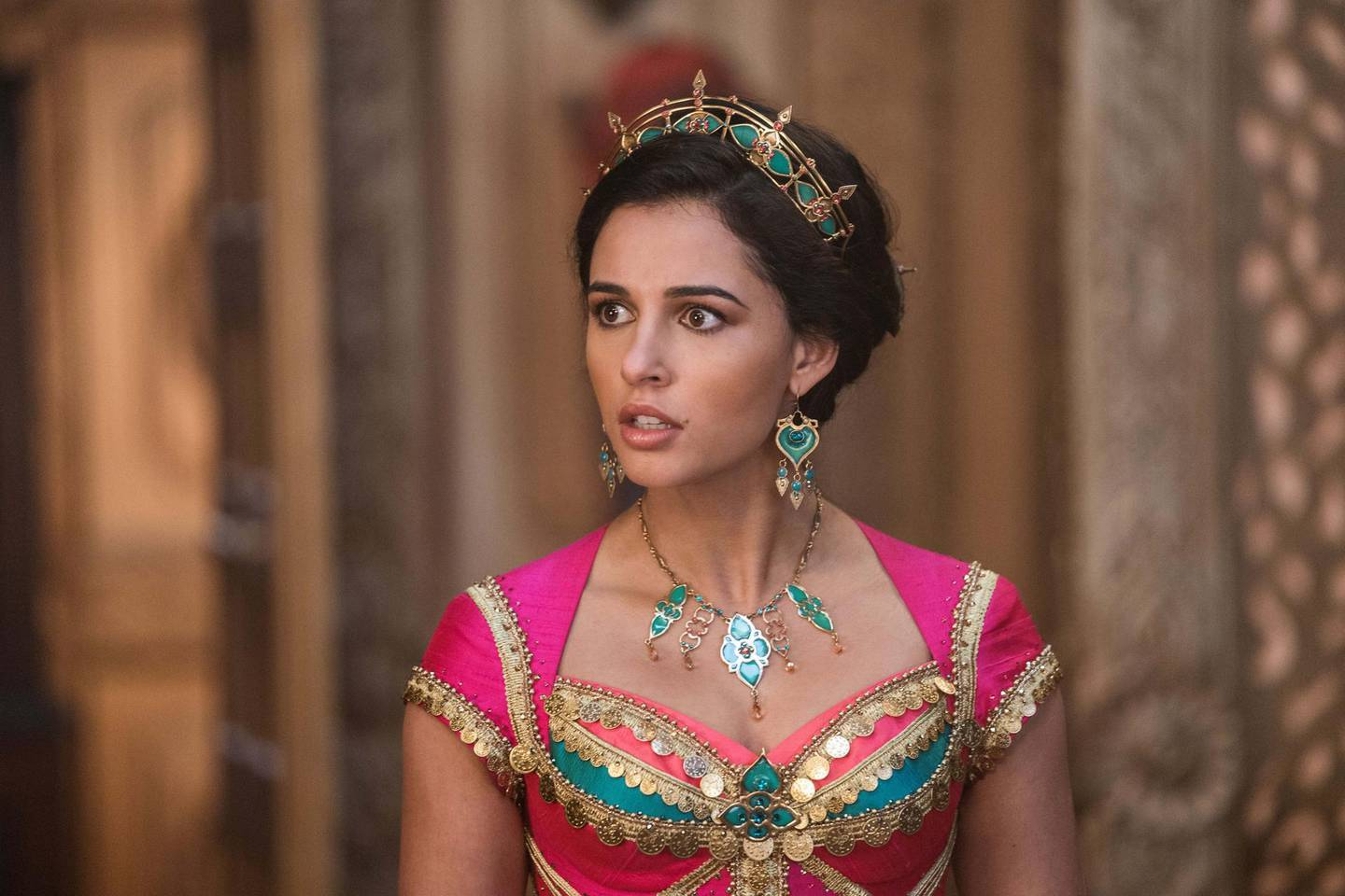 Naomi Scott is Jasmine in Disney's live-action ALADDIN, directed by Guy Ritchie. Courtesy Disney