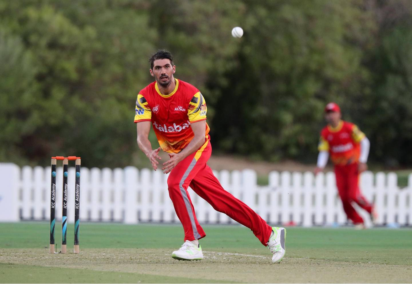 Dubai, United Arab Emirates - Reporter: N/A. Sport. Cricket. Abu Dhabi's former Zimbabwe test player Graeme Cremer bowls during the game between Abu Dhabi and Ajman in the Emirates D10. Friday, July 24th, 2020. Dubai. Chris Whiteoak / The National