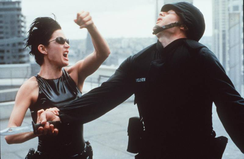 """1999 Carrie-Anne Moss Stars In """"The Matrix."""" 1999 Warner Bros. And Village Roadshow Film. (Photo By Getty Images)"""