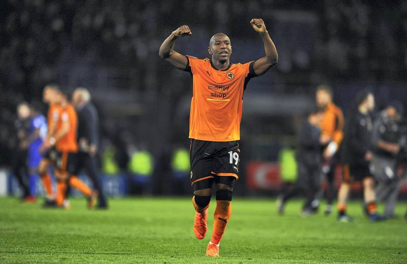 CARDIFF, WALES - APRIL 06:  Benik Afobe of Wolverhampton Wanderers celebrates victory during the Sky Bet Championship match between Cardiff City and Wolverhampton Wanderers at the Cardiff City Stadium on April 6, 2018 in Cardiff, Wales.  (Photo by Harry Trump/Getty Images)