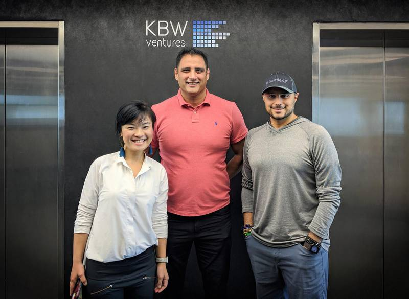 Fengru Lin and Max Rye with Prince Khaled bin Alwaleed bin Talal Al Saud during a visit to KBW Ventures' Dubai offices. Courtesy KBW Ventures