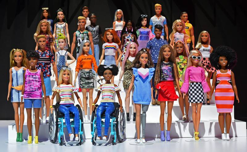 IMAGE DISTRIBUTED FOR MATTEL - Shown at the New York Toy Fair, Friday, Feb. 15, 2019, the Barbie Fashionistas line continues to be the most diverse and inclusive fashion doll line on the market. The 2019 collection features a doll in a wheelchair, prosthetic limb, new body type and hair texture. (Diane Bondareff/AP Images for Mattel)