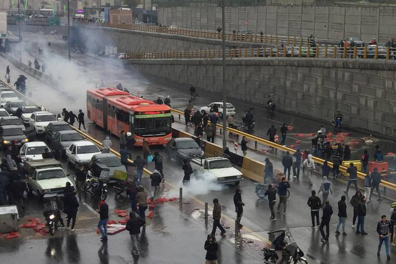 People protest against increased gas price, on a highway in Tehran, Iran November 16, 2019. Nazanin Tabatabaee/WANA (West Asia News Agency) via REUTERS ATTENTION EDITORS - THIS IMAGE HAS BEEN SUPPLIED BY A THIRD PARTY