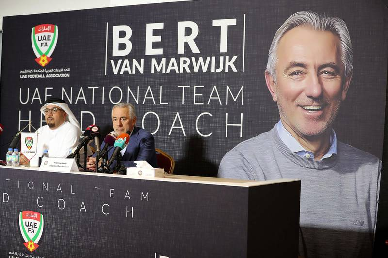 ABU DHABI , UNITED ARAB EMIRATES , March 21 – 2019 :- Left to Right - Abdulla Naser Al Junaibi , UAEFA Vice Chairman and Bert Van Marwijk , UAE National Team Head Coach during the press conference held at Al Nahyan Stadium in Abu Dhabi. ( Pawan Singh / The National ) For Sports. Story by John