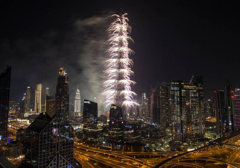 Dubai, United Arab Emirates - Burj Khalifa's New Year's eve fireworks taken from Shangri-La Hotel's roof top. Ruel Pableo for The National