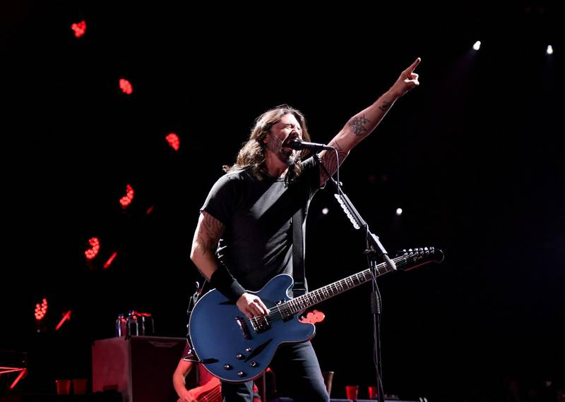 LAS VEGAS, NEVADA - DECEMBER 07: Frontman Dave Grohl of Foo Fighters performs at the Intersect music festival at the Las Vegas Festival Grounds on December 7, 2019 in Las Vegas, Nevada.   Ethan Miller/Getty Images/AFP (Photo by Ethan Miller / GETTY IMAGES NORTH AMERICA / Getty Images via AFP)