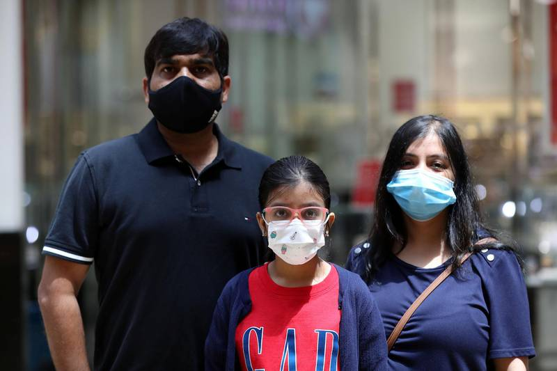 Dubai, United Arab Emirates - Reporter: Kelly Clarke. Coronavirus/Covid-19. Visa Singh with parents Vijai and Sarika Singh. Parents rush to buy PPE for children in time for back-to-school. Sunday, August 23rd, 2020. Dubai. Chris Whiteoak / The National