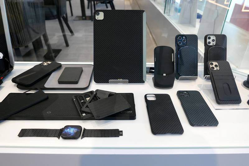 Mobile phone and tablet covers at The Name concept store and a resto café at Dubai Design District in Dubai on June 23,2021. Pawan Singh / The National. Story by Janice Rodrigues