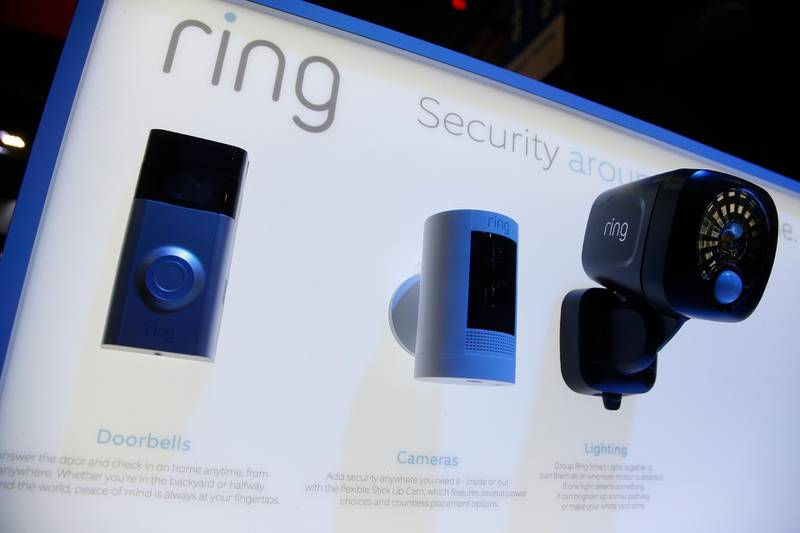 Amazon-owned Ring displays several products of their security line during the CES tech show Tuesday, Jan. 7, 2020, in Las Vegas. (AP Photo/Ross D. Franklin)