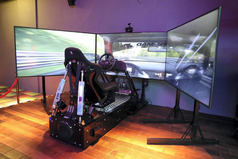DUBAI, UNITED ARAB EMIRATES , September 27 – 2020 :- View of the VR racing simulator at the Brass Monkey, new dining and entertainment destination on the Bluewaters Island in Dubai.  (Pawan Singh / The National) For Lifestyle/Online/Instagram. Story by Janice Rodrigues