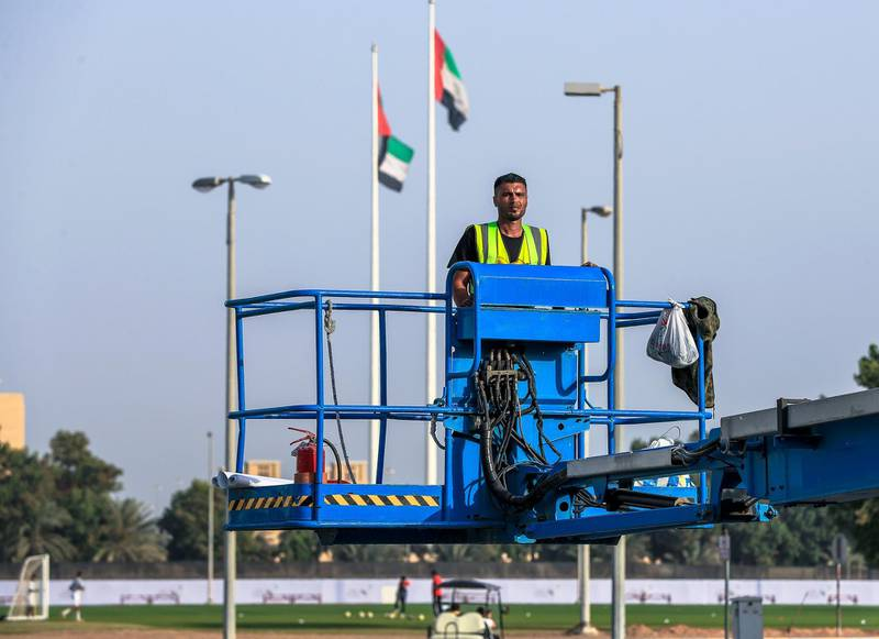 Abu Dhabi, U.A.E., January 30, 2019.  Pope Francis preparations at Zayed Sports City.Victor Besa / The NationalSection:  NAReporter: