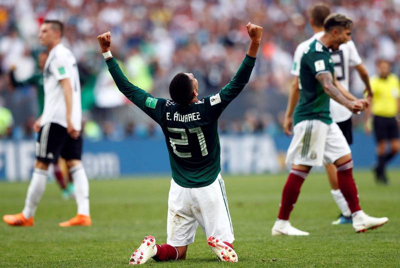 Mexico's Edson Alvarez celebrates after his team won the group F match between Germany and Mexico at the 2018 soccer World Cup in the Luzhniki Stadium in Moscow, Russia, Sunday, June 17, 2018. (AP Photo/Matthias Schrader)