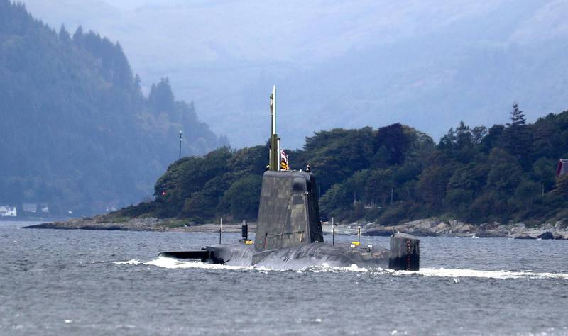 One of the Royal Navy's seven Astute-class nuclear-powered attack submarine moves through the water at the entrance to Holy Loch and Loch Long near Kilcreggan, in Argyll and Bute. (Photo by Andrew Milligan/PA Images via Getty Images)