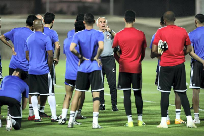 UAE national team manager Bert van Marwijk takes a training session before the game between the UAE and Malaysia in the World cup qualifiers at the Zabeel Stadium, Dubai on June 2nd, 2021. Chris Whiteoak / The National.  Reporter: John McAuley for Sport