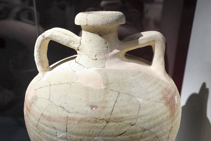 Sharjah, United Arab Emirates - July 10, 2019: Weekend's postcard section. An Amphora jar at the Mleiha Archaeological Centre. Wednesday the 10th of July 2019. Maleha, Sharjah. Chris Whiteoak / The National