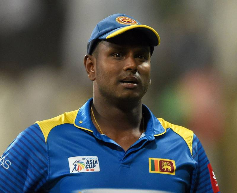 Sri Lanka's cricket team captain Angelo Mathews looks on during after Afghanistan won the match by 91 runs the one day international (ODI) Asia Cup cricket match between Sri Lanka and Afghanistan at the Sheikh Zayed Stadium in Abu Dhabi on September 17, 2018. / AFP / ISHARA S.  KODIKARA