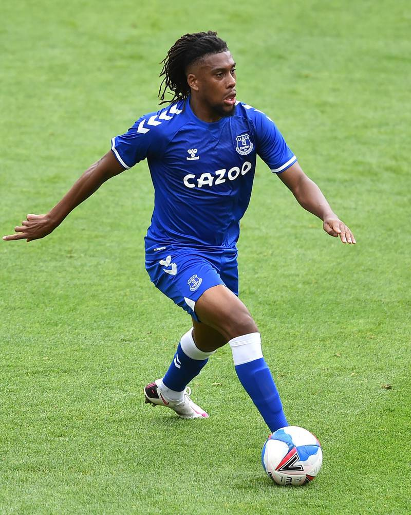 BLACKPOOL, ENGLAND - AUGUST 22: Alex Iwobi of Everton in action during the pre-season friendly match between Blackpool and Everton at Bloomfield Road on August 22, 2020 in Blackpool, England. (Photo by Nathan Stirk/Getty Images)