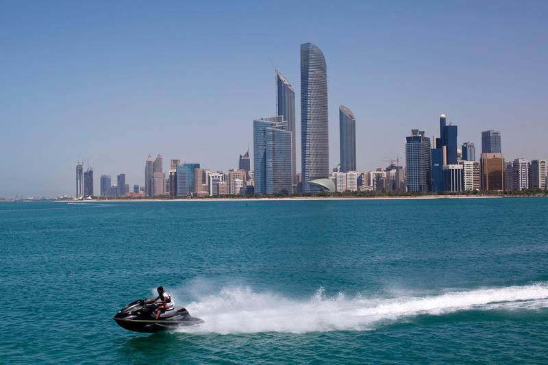 Abu Dhabi, United Arab Emirates, April 9, 2013:    Skyline of Abu Dhabi seen from the break water in Abu Dhabi on April 9, 2013. Christopher Pike / The National