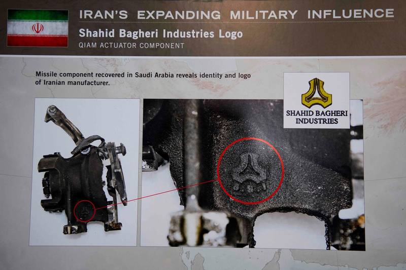 """A placard showing a missile component recovered in Saudi Arabia reveals identity and logo of Iranian manufacturer Shahid Bagger Industries Logo after US Ambassador to the United Nations Nikki Haley unveiled previously classified information intending to prove Iran violated UNSCR 2231 by providing the Houthi rebels in Yemen with arms during a press conference at Joint Base Anacostia in Washington, DC, on December 14, 2017. Haley said Thursday that a missile fired by Huthi militants at Saudi Arabia last month had been made in Iran. """"It was made in Iran then sent to Huthi militants in Yemen,"""" Haley said of the missile.  / AFP PHOTO / JIM WATSON"""
