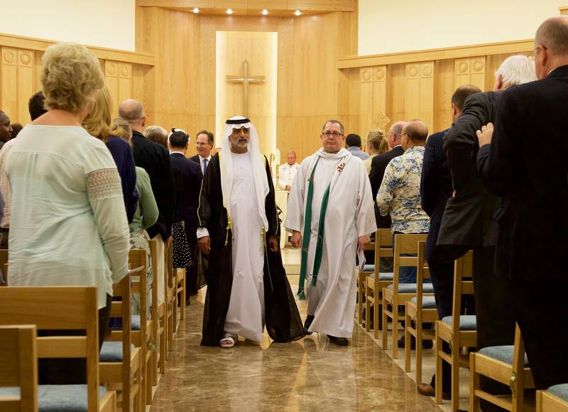 His Highness Sheikh Nahyan,Bishop Andrew Thompson, during reopening of St. Andrew's Church, in Abu Dhabi on October 8, 2015 ( Vidhyaa for The National ) *** Local Caption ***  St. Andrew's_4.jpg