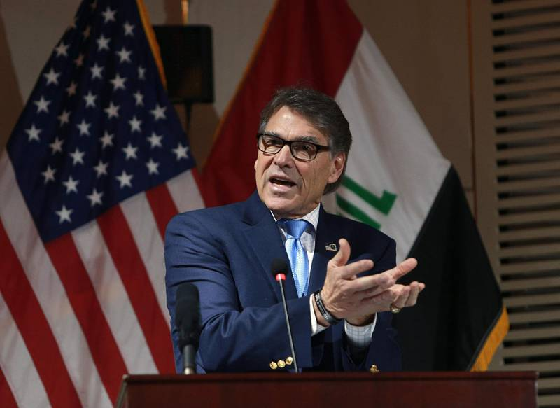 US Energy Secretary Rick Perry speaks at a joint press conference in the Iraqi capital Baghdad on December 11, 2018.   / AFP / POOL / Hadi Mizban