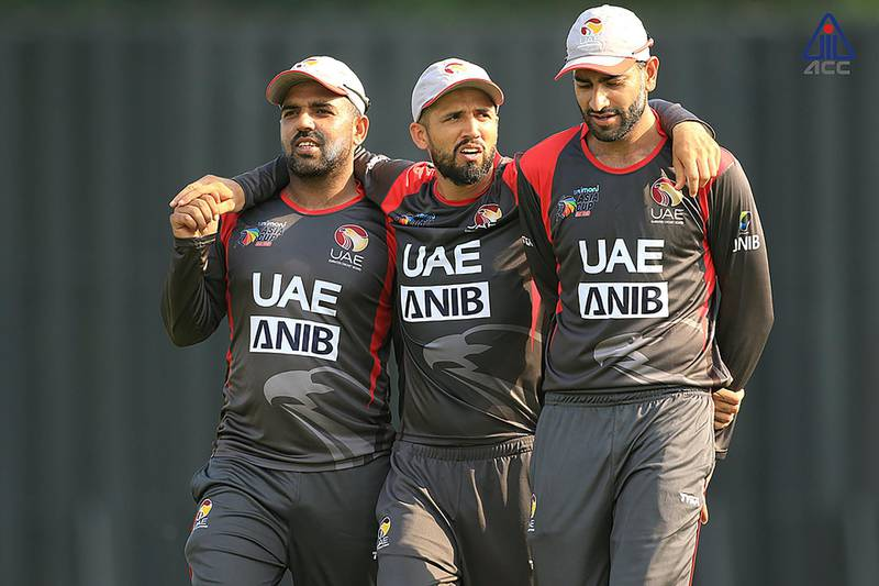 Rohan Mustafa, middle, won the man-of-the-match award after he took two wickets and made a speedy 38 not out in the run chase against Malaysia at the Asia Cup Qualifier. Courtesy ACC