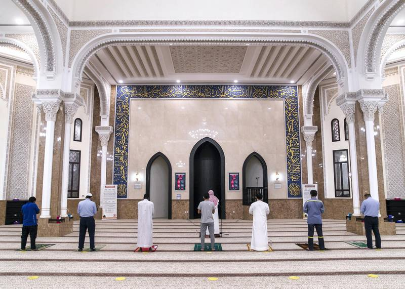 DUBAI, UNITED ARAB EMIRATES. 30 JULY 2020. Al Maghreb prayer in Al Khair Masjid on Arafat day.(Photo: Reem Mohammed/The National)Reporter:Section: