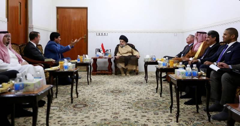 Iraqi Shi'ite cleric Moqtada al-Sadr meets with ambassadors of Turkey, Jordan, Saudi Arabia, Syria and Kuwait, in Najaf, Iraq May 18, 2018. REUTERS/Alaa al-Marjani