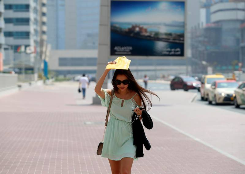 Dubai, United Arab Emirates, June 29, 2017: People in Dubai show various ways to keep cool and stay out of the sun. Thursday, June. 29, 2017, in Dubai. Chris Whiteoak for The National *** Local Caption ***  CW_2906_HotWeather_08.JPG