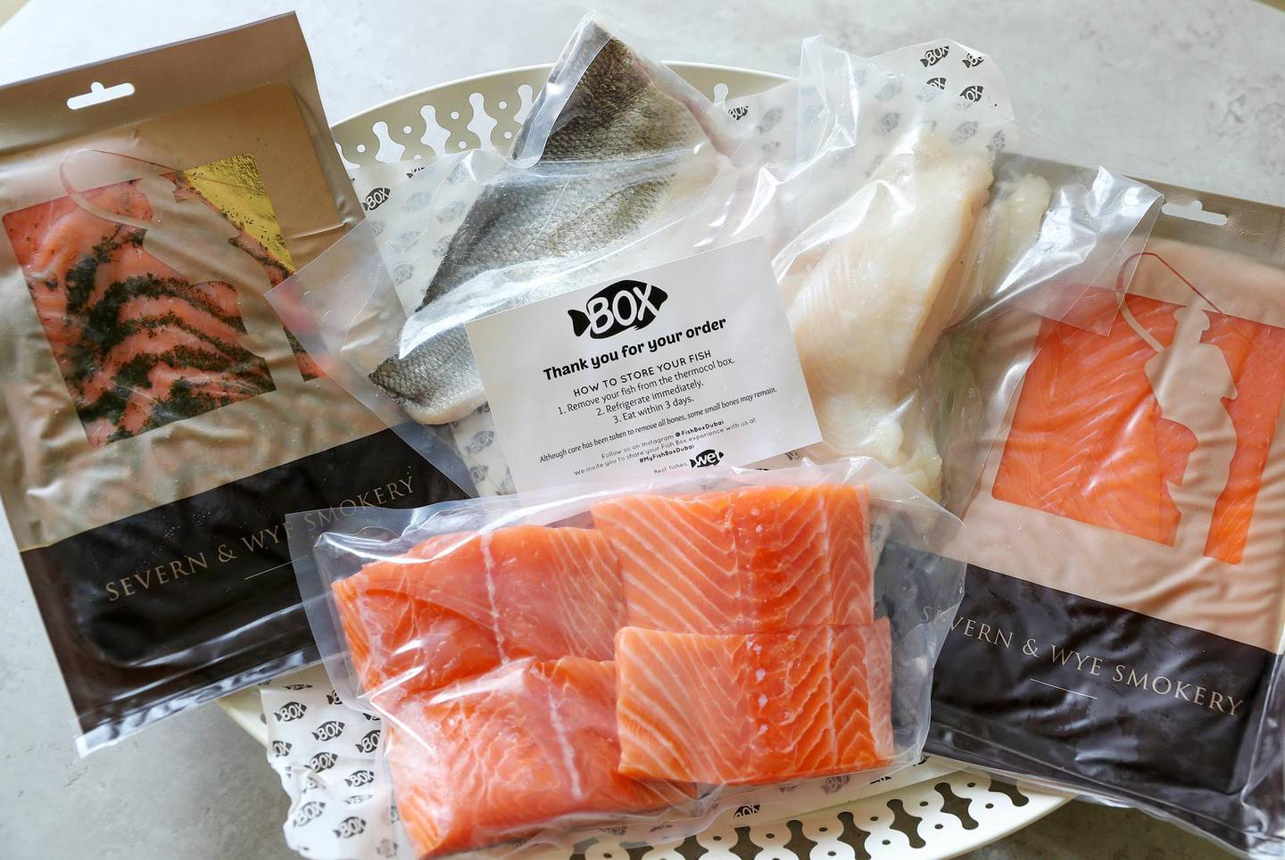 Dubai, United Arab Emirates - August 30th, 2017: Fish Box make a delivery. Feature on comparisons on the different online grocery options. Wednesday, August 30th, 2017 at Mira, Dubai