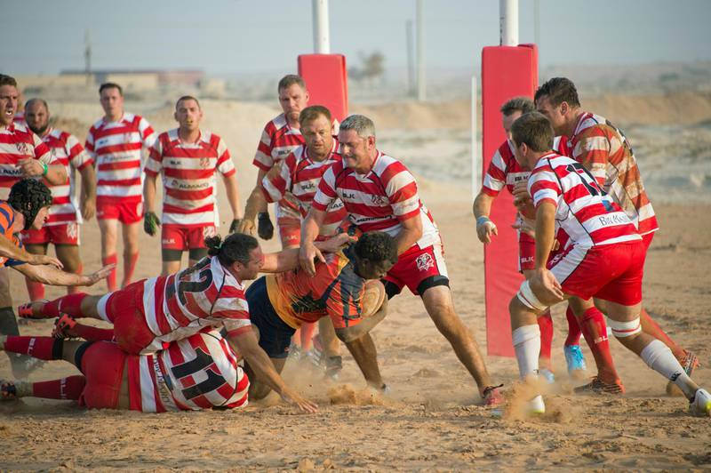 To go with Paul Radley story on rugby being played on sand. September 2016. Photo Courtesy: Roger Harrison *** Local Caption ***  D4D_2160 Rak Knights First Match.jpg