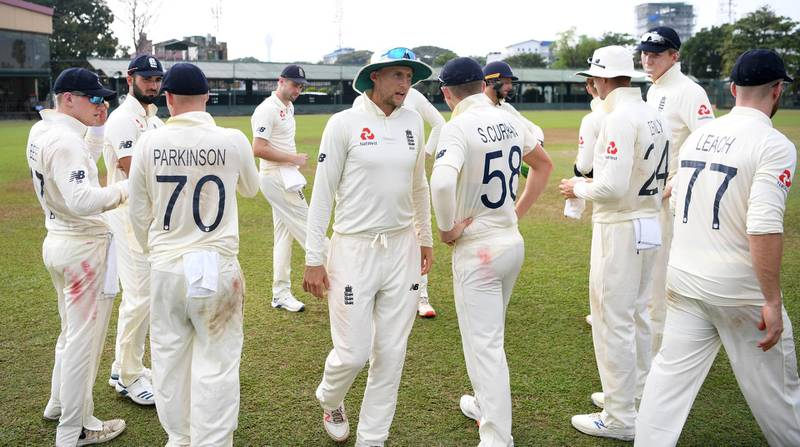 COLOMBO, SRI LANKA - MARCH 13: England captain Joe Root leads his team from the field after the tour match between SLC Board President's XI and England abandoned at P Sara Oval on March 13, 2020 in Colombo, Sri Lanka. (Photo by Gareth Copley/Getty Images)