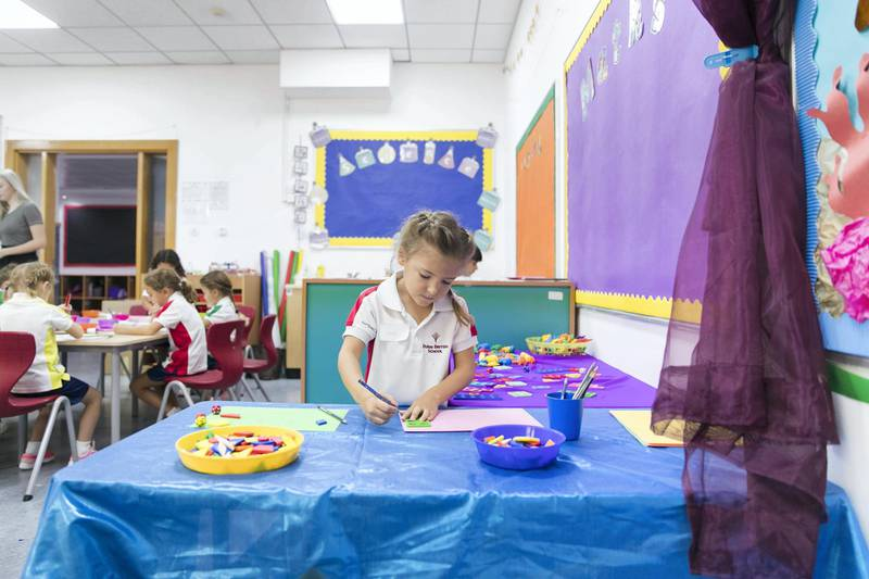 DUBAI, UNITED ARAB EMIRATES - SDEPTEMBER 2, 2018. Year 1 students on their first day of school at Dubai  British School.(Photo by Reem Mohammed/The National)Reporter: Ramola TalwarSection:  NA