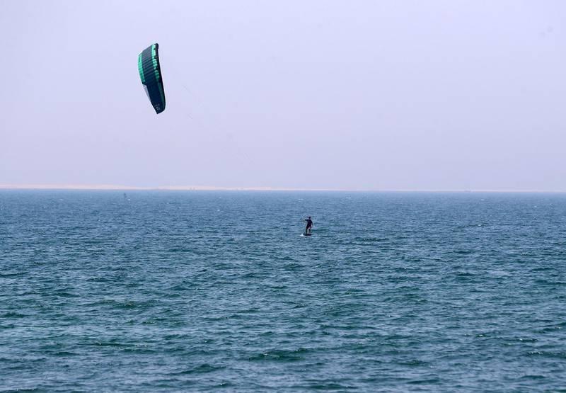 Dubai, United Arab Emirates - Reporter: N/A: News. A kite surfer at Kite surfing beach as beaches in Dubai re open. Friday, May 29th, 2020. Dubai. Chris Whiteoak / The National