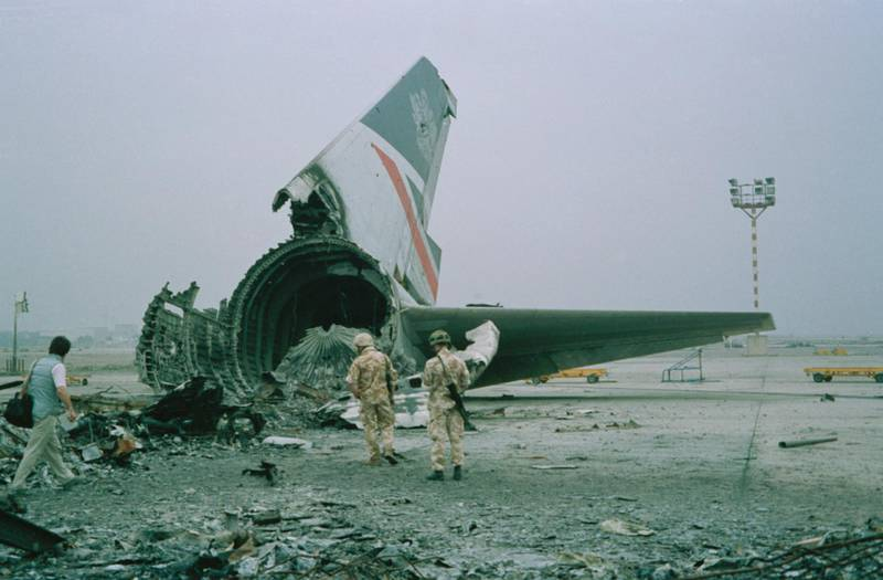 The wreckage of a British Airways Boeing 747-136 at Kuwait City airport, after BA Flight 149 was detained in Kuwait during the Gulf War, 1991.  (Photo by Colin Davey/Getty Images)