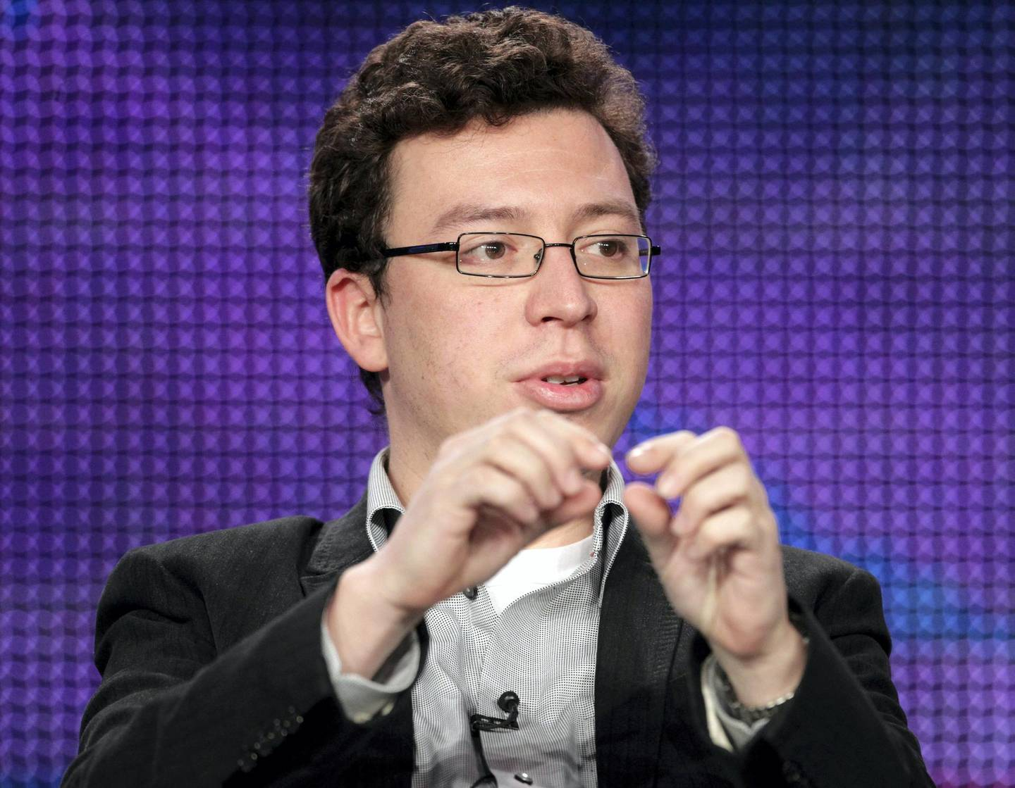"""(FILES) This file photo taken on January 8, 2011 shows Carnegie Mellon University professor and MacArthur """"Genius Grant"""" winner Luis von Ahn speaking during the 'NOVA: Smartest Machine on Earth - Can a Computer Win on Jeopardy!?' panel at the PBS portion of the 2011 Winter TCA press tour held at the Langham Hotel in Pasadena, California.    Luis von Ahn created a computer system to distinguish humans from robots. He made it collaborative and Google fell in love with the idea. Now, this Guatemalan genius, who became a millionaire in the United States before he turned 30 and has been nicknamed the """"Latin Mark Zuckerberg"""", wants learning to be """"addictive"""" with his free language education platform. / AFP PHOTO / GETTY IMAGES NORTH AMERICA / Frederick M. Brown"""