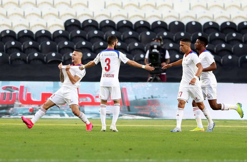Abu Dhabi, United Arab Emirates - Reporter: John McAuley: Marcus Vinicius of Sharjah scores in the game between Sharjah and Al Ain in the PresidentÕs Cup semi-final. Tuesday, March 10th, 2020. Mohamed bin Zayed Stadium, Abu Dhabi. Chris Whiteoak / The National