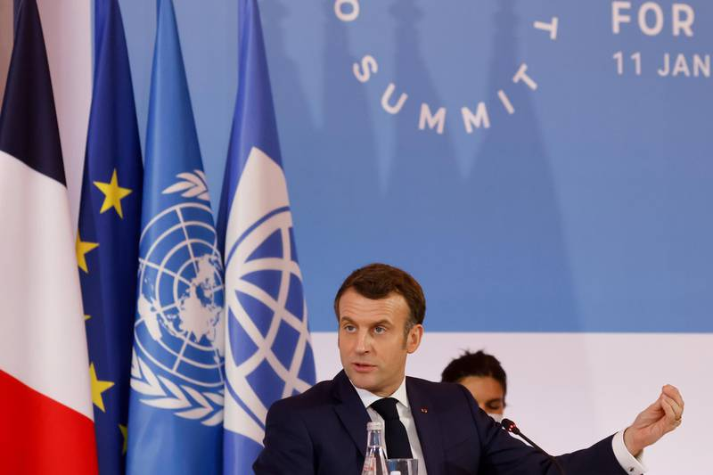 epa08931802 French President Emmanuel Macron delivers a speech at the end of One Planet Summit, part of World Nature Day, at the Reception Room of the Elysee Palace, in Paris, France, 11 January 2021. The One Planet Summit, a largely virtual event hosted by France in partnership with the United Nations and the World Bank, will include French President, German Chancellor and European Union chief.  EPA/LUDOVIC MARIN / POOL  MAXPPP OUT