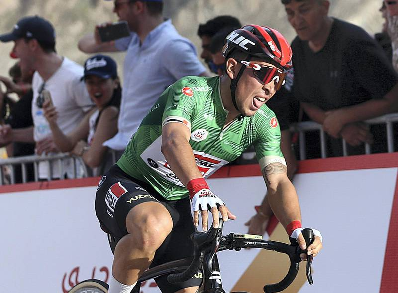 HATTA, February, 24, 2020: Caleb Ewan of Soudal Lotto reacts after the finish line of  the second stage during the UAE Tour 2020 race in Hatta  . Satish Kumar/ For the National/  Story Amit Pasella