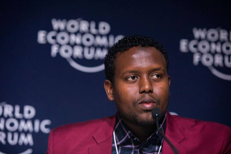 """Mohammed Hassan Mohamud, Zonal Chairman, Kakuma, Kenya, speaking during the Session """"Press Conference: Meet the Co-chairs of the Annual Meeting"""" at the Annual Meeting 2019 of the World Economic Forum in Davos, January 22, 2019. Media Village - Press Conference Room.Copyright by World Economic Forum / Ciaran McCrickard"""