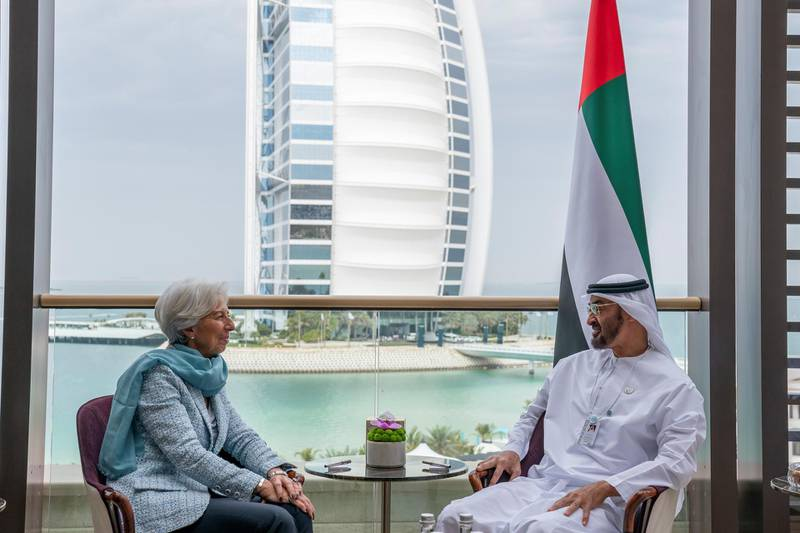 JUMEIRAH, DUBAI, UNITED ARAB EMIRATES - February 10, 2019: HH Sheikh Mohamed bin Zayed Al Nahyan Crown Prince of Abu Dhabi Deputy Supreme Commander of the UAE Armed Forces (R), meets with Christine Lagarde, Managing Director of International Monetary Fund (L), during the 2019 World Government Summit. ( Ryan Carter for the Ministry of Presidential Affairs ) ---