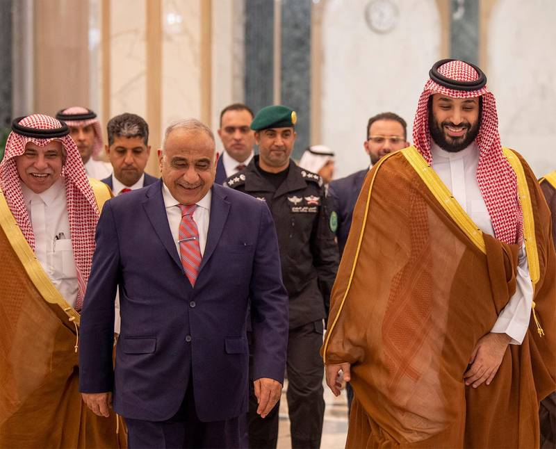 Saudi Arabia's Crown Prince Mohammed bin Salman walks with Iraq's Prime Minister Adel Abdul Mahdi in Riyadh, Saudi Arabia April 17, 2019. Picture taken April 17, 2019. Bandar Algaloud/Courtesy of Saudi Royal Court/Handout via REUTERS ATTENTION EDITORS - THIS IMAGE WAS PROVIDED BY A THIRD PARTY.