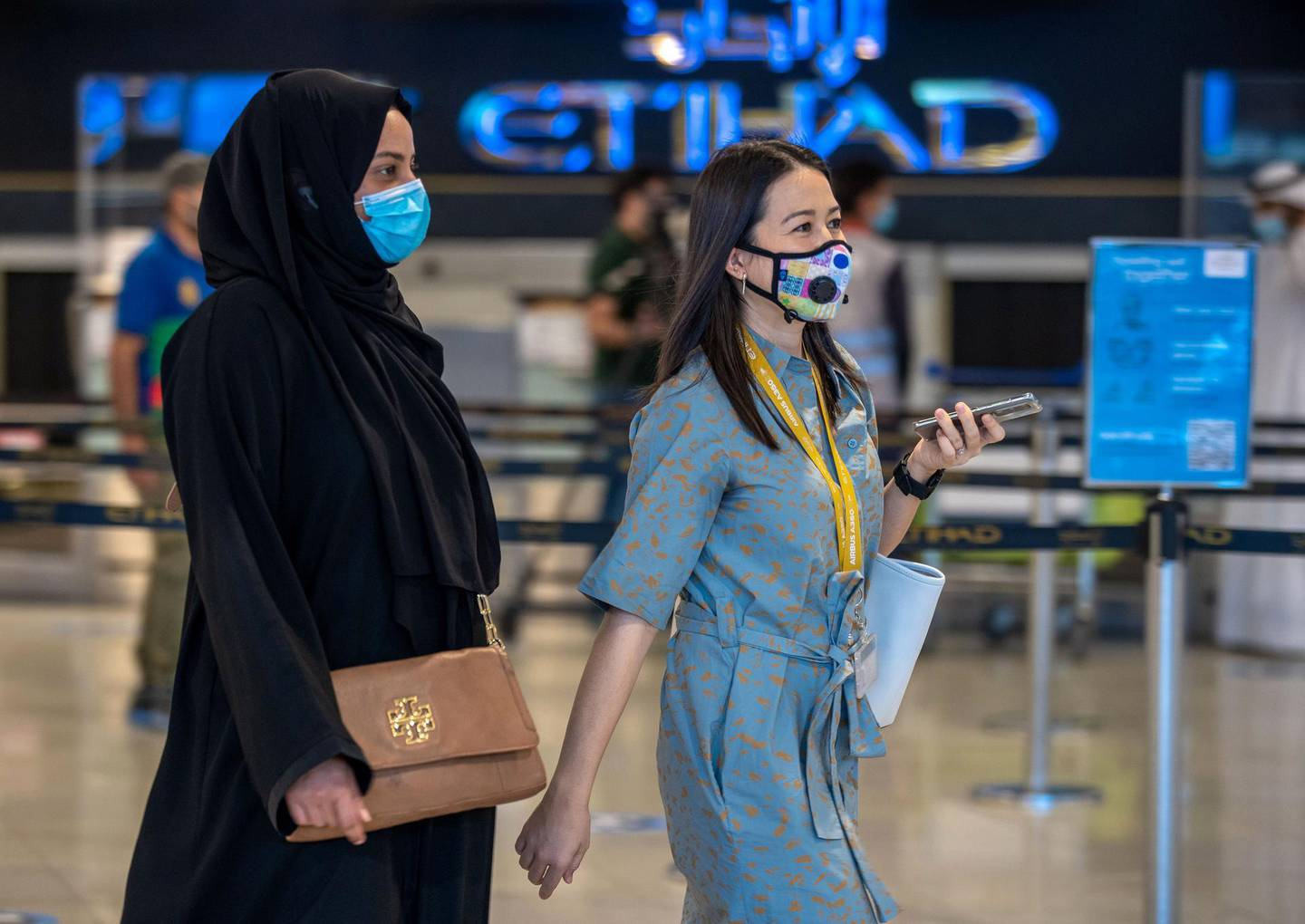 Abu Dhabi, United Arab Emirates, July 8, 2020.   Abu Dhabi International Airport Media Tour by Etihad.  The Etihad Check-In counter area.Victor Besa  / The NationalSection:  NA Reporter: