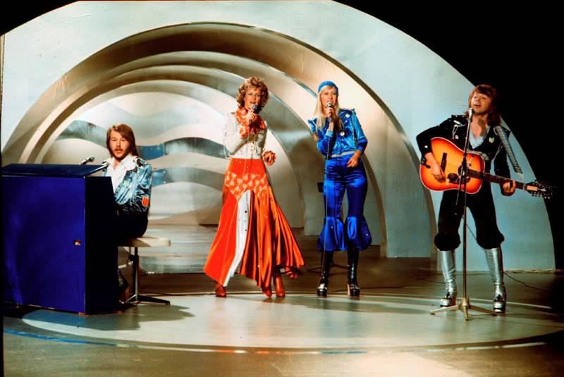 """Swedish pop group Abba, performs during the the Eurovision Song Contest 1974  on February 09, 1974 in Brighton with their song Waterloo. Abba won the Eurovision Song Contest in England with """"Waterloo"""", this was the beginning of the greatest career in Swedish pop music history. The """"Waterloo"""" LP was released in England and America after many TV appearances.   MANDATORY CREDIT AFP PHOTO/SCANPIX SWEDEN-OLLE LINDEBORG (Photo by Olle Lindeborg / SCANPIX SWEDEN / AFP) / Sweden OUT"""