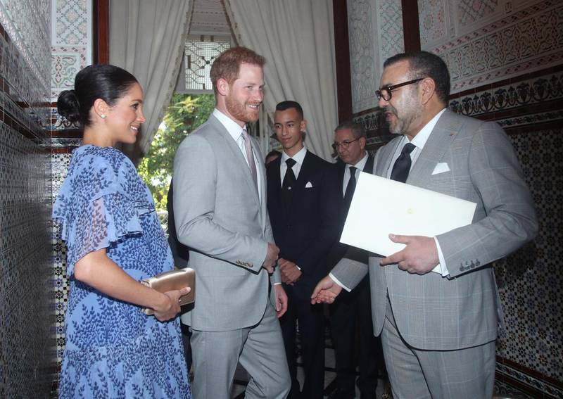 RABAT, MOROCCO - FEBRUARY 25:  Prince Harry, Duke of Sussex and Meghan, Duchess of Sussex with King Mohammed VI of Morocco, during an audience at his residence on February 25, 2019 in Rabat, Morocco. (Photo by Yui Mok - Pool / Getty Images)