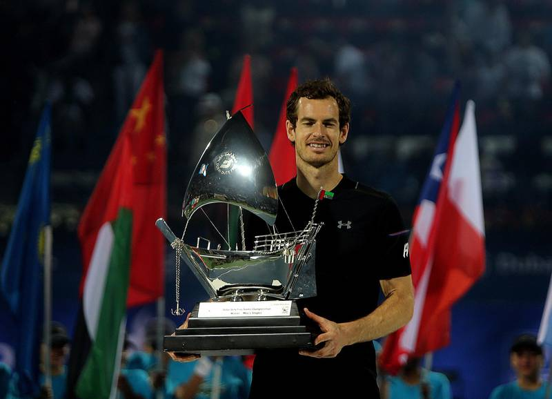 Dubai, 04, March, 2017:  World No:1 Andy Murray poses with the trophy after winning the  Men's finals of the Dubai Duty Free  Tennis Championship  in Dubai. ( Satish Kumar / The National ) *** Local Caption ***  SK-Tennis-04032017-018.jpg