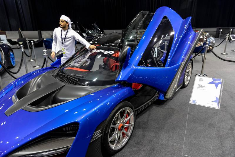 DUBAI, UNITED ARAB EMIRATES. 12 November 2019. A Mclaren at the Dubai Motor Show opening day. (Photo: Antonie Robertson/The National) Journalist: Nic Webster. Section: National.
