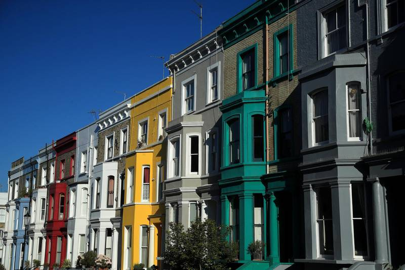 LONDON, ENGLAND  - MAY 15: A general view of the colourful houses of Notting Hill on May 15, 2020 in London, England. The prime minister announced the general contours of a phased exit from the current lockdown, adopted nearly two months ago in an effort curb the spread of Covid-19. (Photo by Andrew Redington/Getty Images)